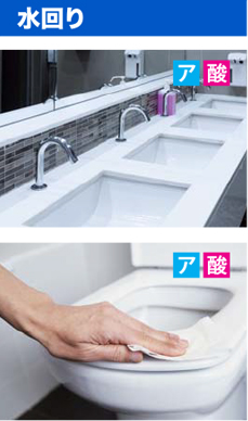 トイレ 洗面 次亜塩素酸 アルカリ性電解水 酸性電解水 除菌 水回り